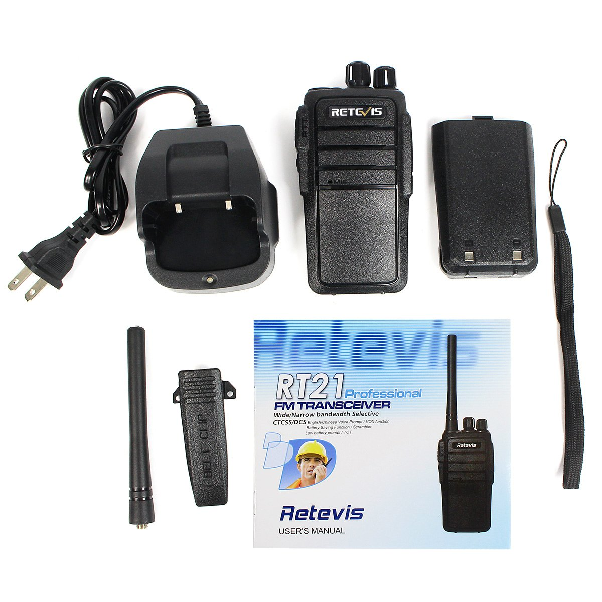 Retevis RT21 Walkie Talkies 16CH FRS Two Way Radio VOX Scrambler 2 Way Radios(5 Pack) with 2 Pin Covert Air Acoustic Earpiece (5 Pack) by Retevis (Image #7)