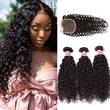 Donmily 10A Grade Brazilian Curly Hair 3 Bundles with Free Part Lace  Closure 100% Unprocessed Virgin