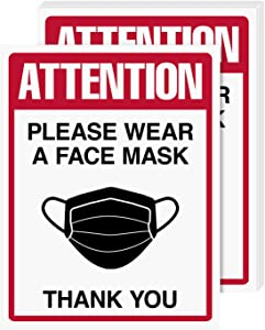 Wear A Face Mask Sign Bulk, Weather Proof, Water and Tear Resistant – Health Safety Signage for Homes, Schools, Offices, Business | 8.5 x 11 Inches | 5 Per Pack (Laminated)