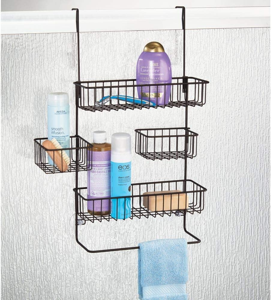 Center Baskets Swivel mDesign Extra Wide Metal Wire Over Door Bathroom Tub /& Shower Caddy Bronze Hanging Storage Organizer Center with Built-in Towel Holders and Baskets on 3 Levels