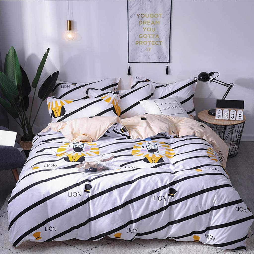 Dowager Duvet Cover Set, Cute Cartoon Lion Pattern Decorative 3 Piece Bedding Set with 2 Pillow Shams, S/M/L Size (L)