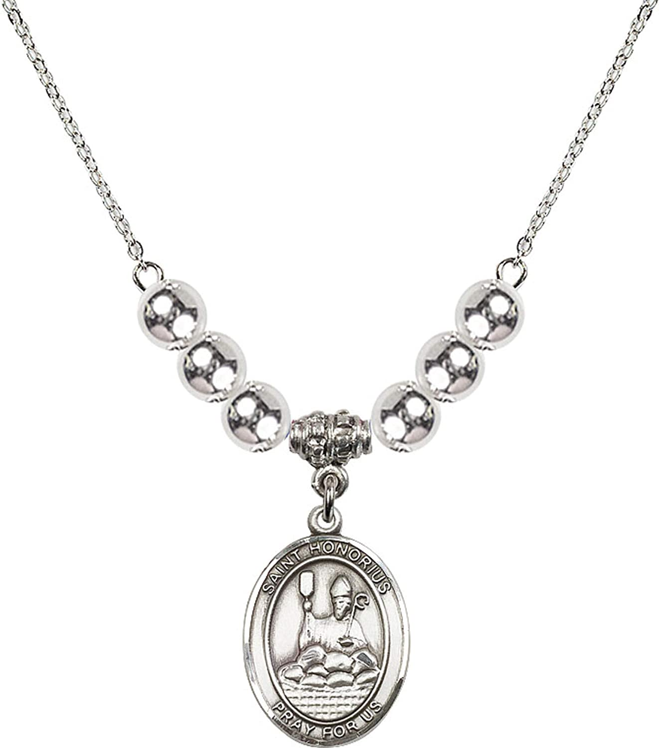 Bonyak Jewelry 18 Inch Rhodium Plated Necklace w// 6mm Sterling Silver Beads and Saint Honorius of Amiens Charm