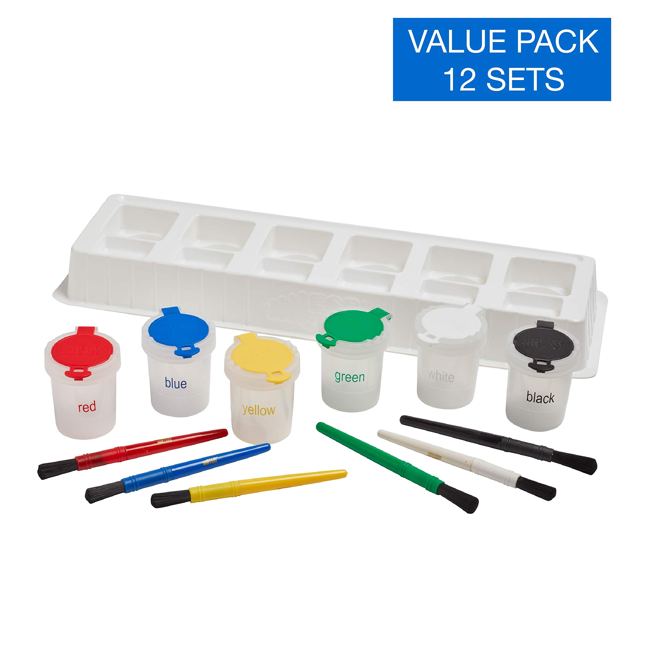 ECR4Kids No-Spill Trilingual Paint Cups Set - Includes Cups, Paint Brushes and Bonus Tray - Art Supplies for Kids and Toddlers (13-Piece Kit), Small by ECR4Kids