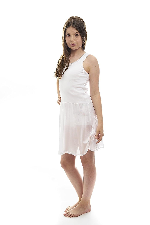 Coral Kids Cotton/Poly V Neck Non Cling Girls Full Slip (12, White) CK-470-W-12
