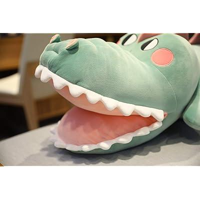 Almohada de Dormir rellena de cocodrilo Gigante, Juguetes de Peluche de Animales de cocodrilo Divertidos para niños, Lindo muñeca de tiburón 70 cm (Verde): Juguetes y juegos