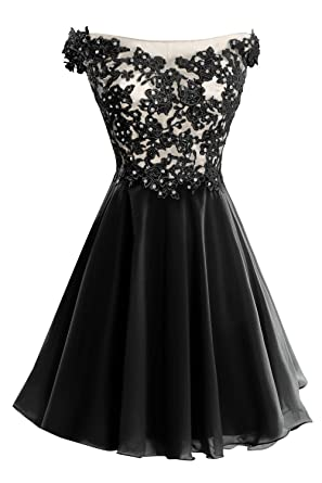 Bess Bridal Womens Lace Straps Beaded Short Prom Gown Homecoming Party Dress Black