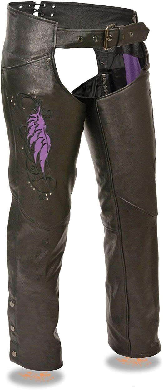 Black, Small Milwaukee Womens Leather Chaps