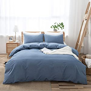 LOVQUE 100% Washed Cotton Duvet Cover Twin Size, Denim Blue Soft and Fade-Resistant Natural Bedding Set (No Comforter), 68x90 Inches