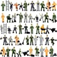 P8710 50pcs 1:87 HO Scale Railway Model Worker Well Painted Figures with Bucket and Ladder Miniature 2cm High People Tiny World
