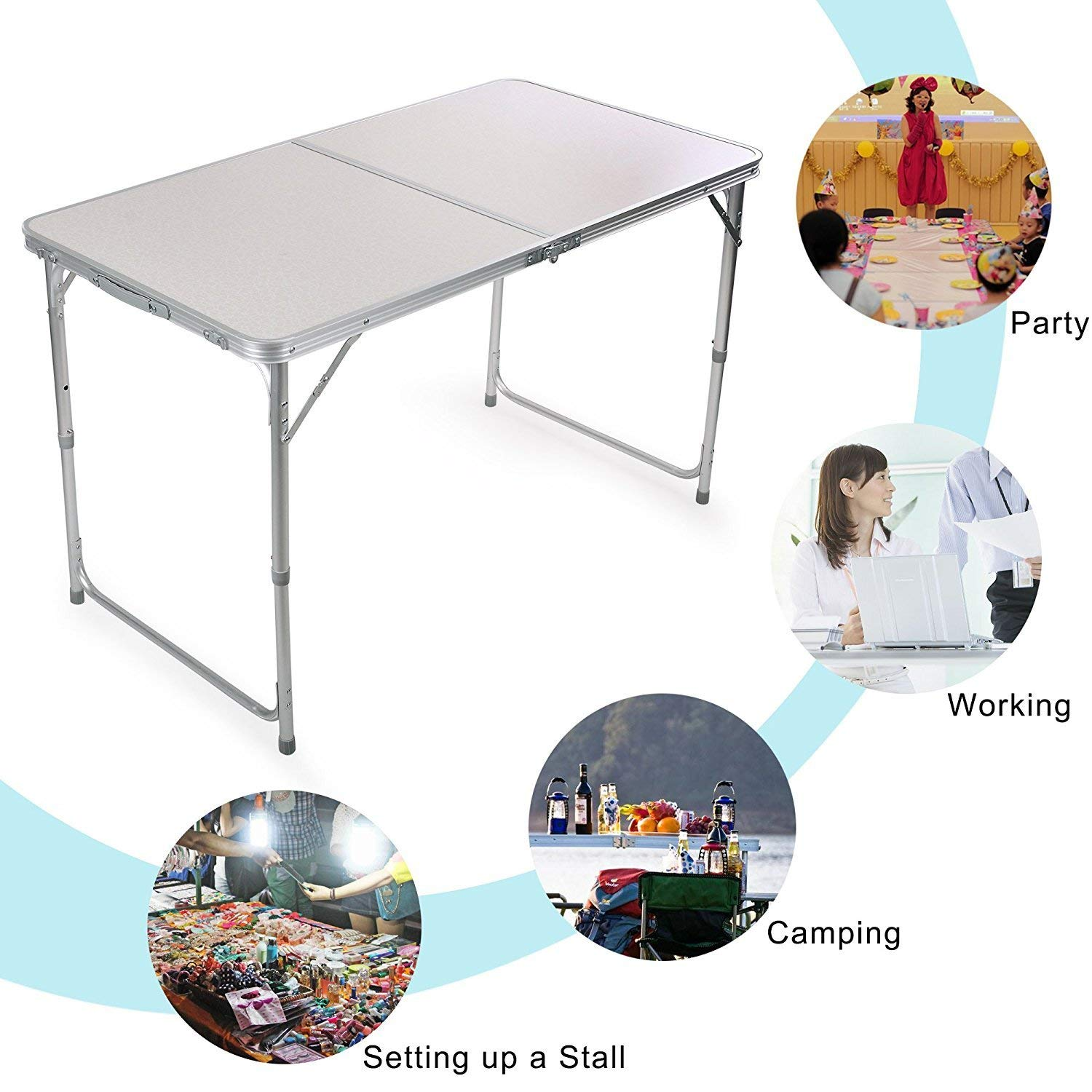 Nestling/® 4FT 1.2M Folding Camping Kitchen Portable Indoor Outdoor Garden Party Holiday Picnic BBQ Work Top Table