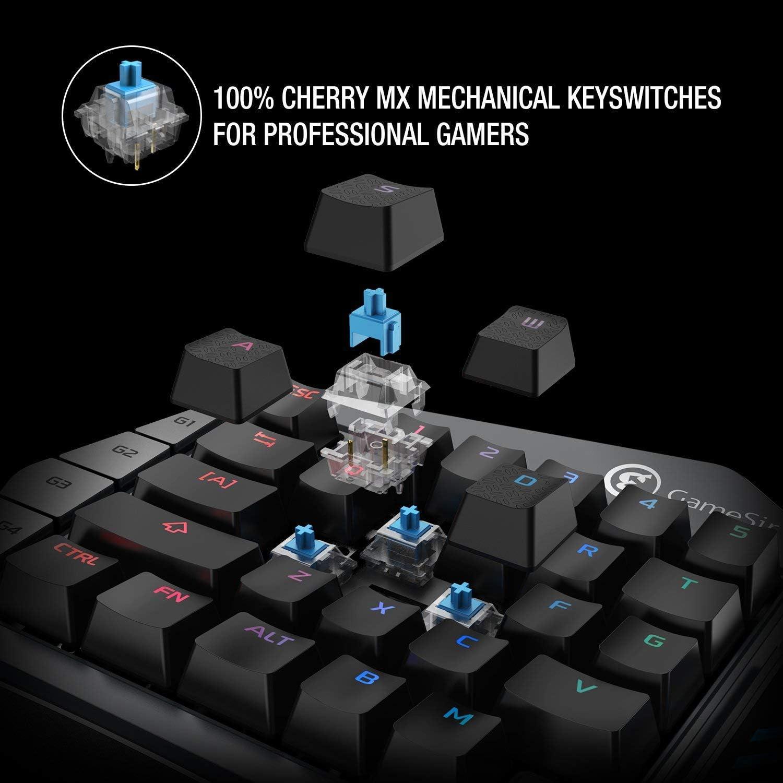 GameSir Z1 Teclado Mecánico con Cable de Blue Switch para Juegos de Una Mano con RGB Retroiluminación con Interruptores de Teclas Azules para Windows ...
