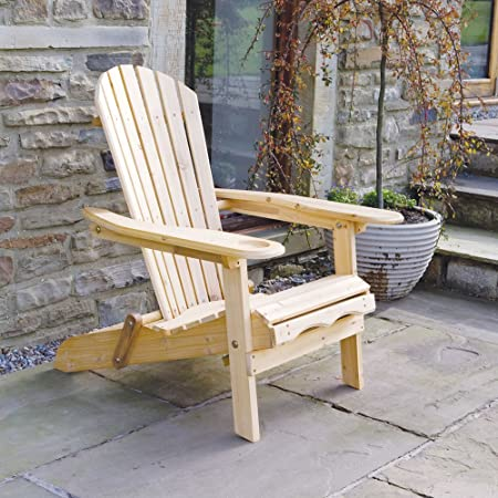 Trueshopping Fauteuil de jardin Chaise longue, style Adirondack avec repose pieds extensible pour jardin terrasse