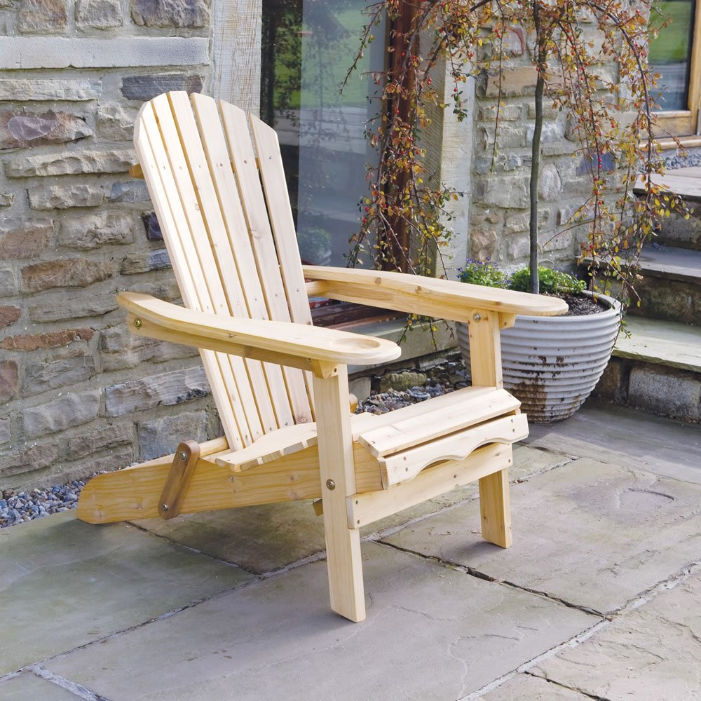 Superior Trueshopping Garden Patio Adirondack Newby Arm Chair With Slide Away Leg  Rest Natural Wood Finish Outdoor Or Indoor Use: Amazon.co.uk: Garden U0026  Outdoors
