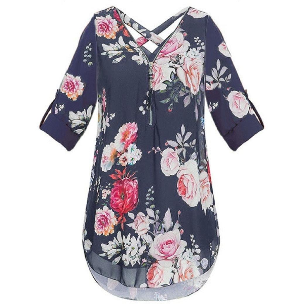 a4605b943d8a Oksale Women s Flora Print V-Neck Zipper Chiffon T-Shirts Loose Tops Tunic  Blouse  Amazon.in  Clothing   Accessories