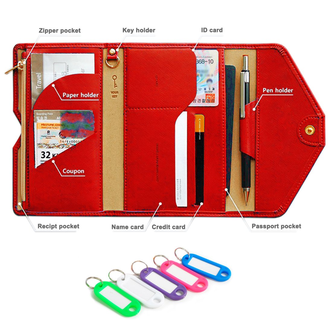 NEWANIMA Fashion Leather Women Phone Passport Holder Envelope multifunction wallet (Style3-Red)