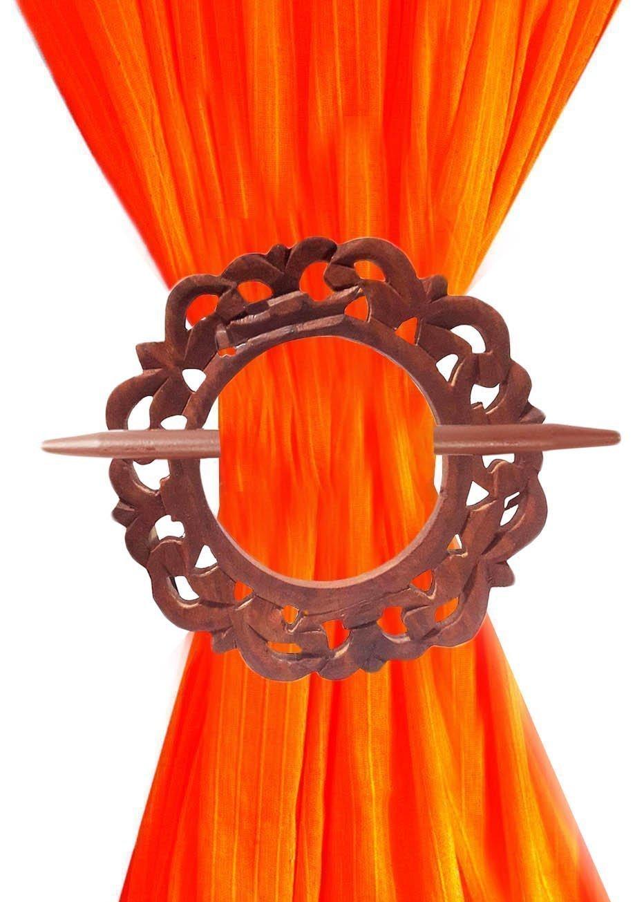 Wooden Curtain TieBacks, Curtain Holder, Carving Round Shape HoldBacks, Single Curtain Tiebacks.