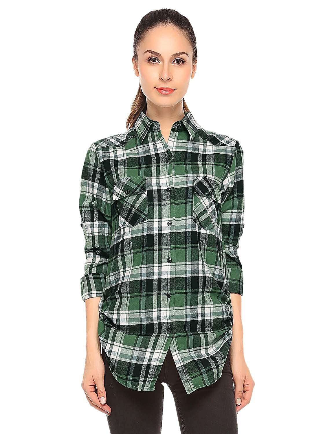 Checks 3 Match Women's Long Sleeve Flannel Plaid Shirt