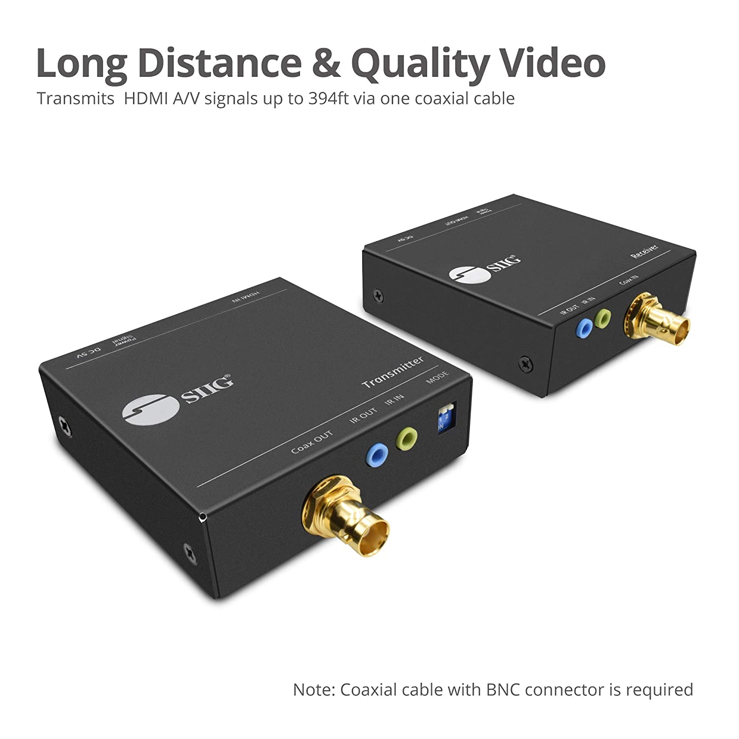 Amazon.com: SIIG HDMI Extender Over a Coaxial Cable (RG59/RG6/RG7) with IR Remote Control - 120m 394ft @1080p 60Hz HDMI Over Coax, Bi-Directional IR, ...
