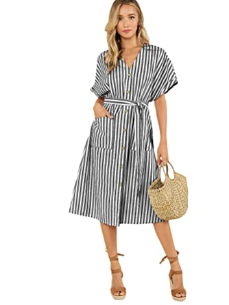 d5a4b1a41ea Floerns Women s V-Neck Stripe Button up Midi Dress with Pockets Black and  White XS