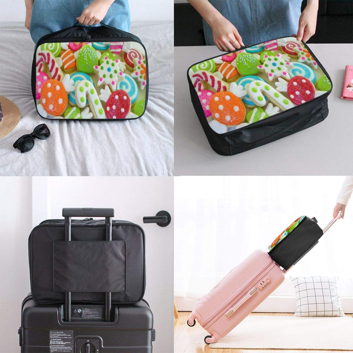Lightweight Large Capacity Portable Luggage Bag Delicious Christmas Cookie Samples Travel Waterproof Foldable Storage Carry Tote Bag