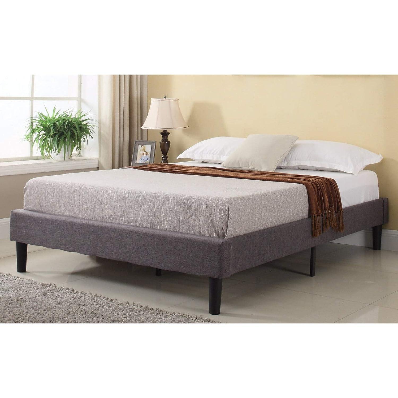 Modern Life Modern Grey Linen Fabric Platform Bed Queen