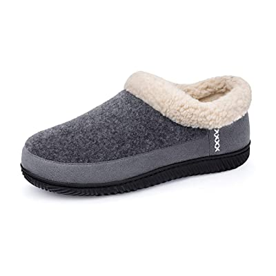 ULTRAIDEAS Men's Warm Memory Foam Slippers with Wool-Like Collar & Polar Fleece Lining, Suede House Shoes Indoor/Outdoor | Slippers