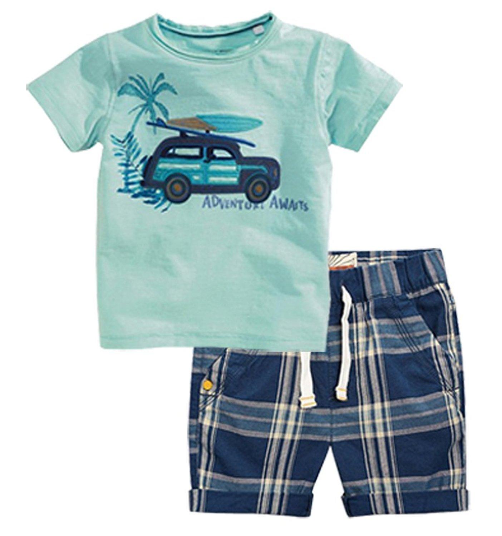 Jobakids Little Boys' Summer Cotton Short Sleeve Clothing Sets (3T, Green)