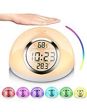 AURSEN Wake Up Light, Despertador de Luz, con 7 Colores Ajustables, 6 Sonidos Naturales, Detección de Gestos , Función de Snooze, Lámpara de Mesa Luz de Lectura para Casa Dormitorio