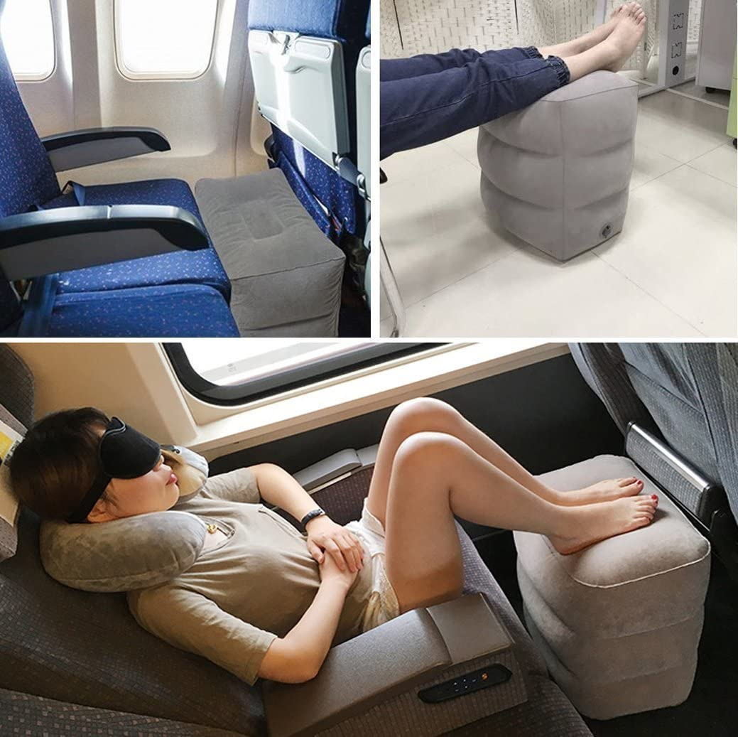 Ejoy Inflatable Travel Pillow for Foot Rest on Airplanes and Kids to Sleep on Long Flights