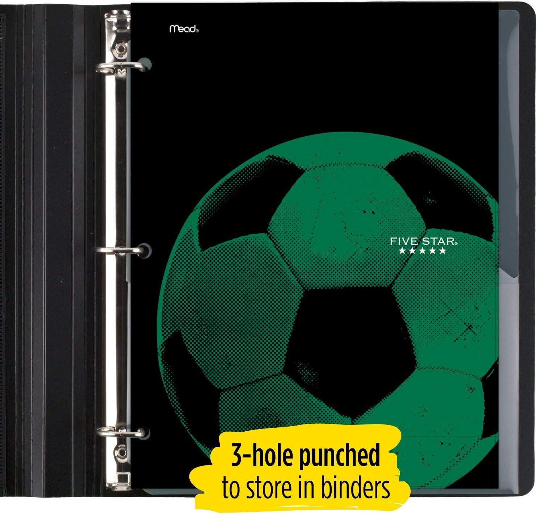 4 Pocket 1 Count Water-Resistant Paper Folder Assorted Sports Designs Five Star Folder Design Selected for You 33176