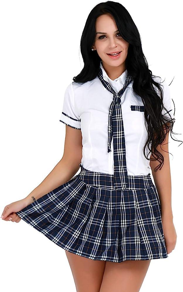 YiZYiF Sexy Disfraz Colegiala Mujer Uniforme Escolar Chica Cmiasa ...