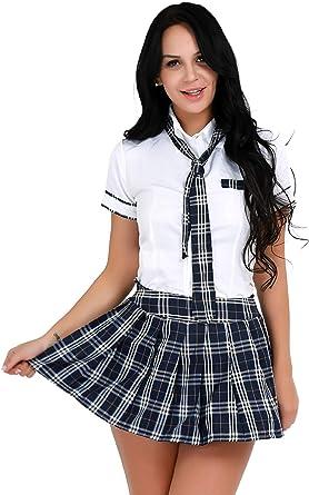 iixpin Uniforme Escolar Colegiala Disfraz Lencería Erotica para Mujeres 2Pcs Camiseta Manga Corta con Corbata/Falda a Cuadros Pijama Atractiva: Amazon.es: Ropa y accesorios