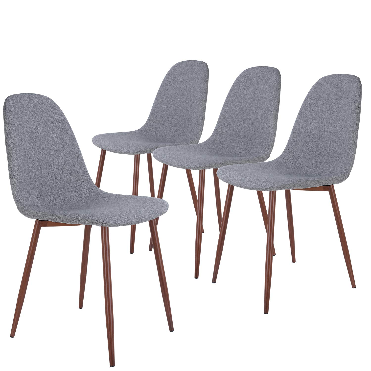 HOMECHO Dining Chairs Set of 4, Fabric Cushion Seat Back Modern Side Chair with Sturdy Metal Legs for Kitchen Living Room, Easy Assembly, Gray