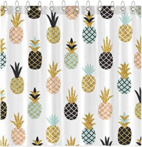 Funnytree Summer Pineapple Glitter Shower Curtain Set with Hooks Colorful Tropical Fruit Cute Bath House Bathroom Bathtubs Decor Easy Care Waterproof Washable Durable Polyester Fabric 72