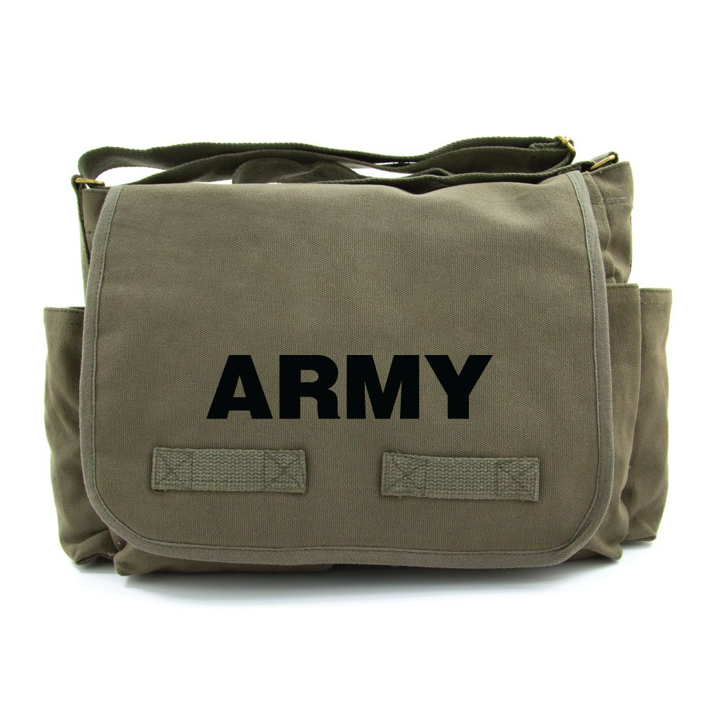 Army Text Military Heavyweight Canvas Messenger Shoulder Bag in Olive /& White