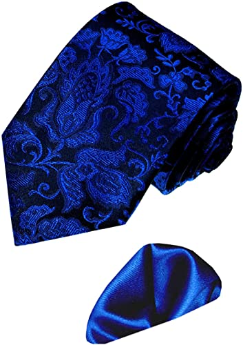 Karierte grau schwarze Krawatte mit rotem Einstecktuch 3604903 Marken 2 er Set aus 100/% Seide Lorenzo Cana