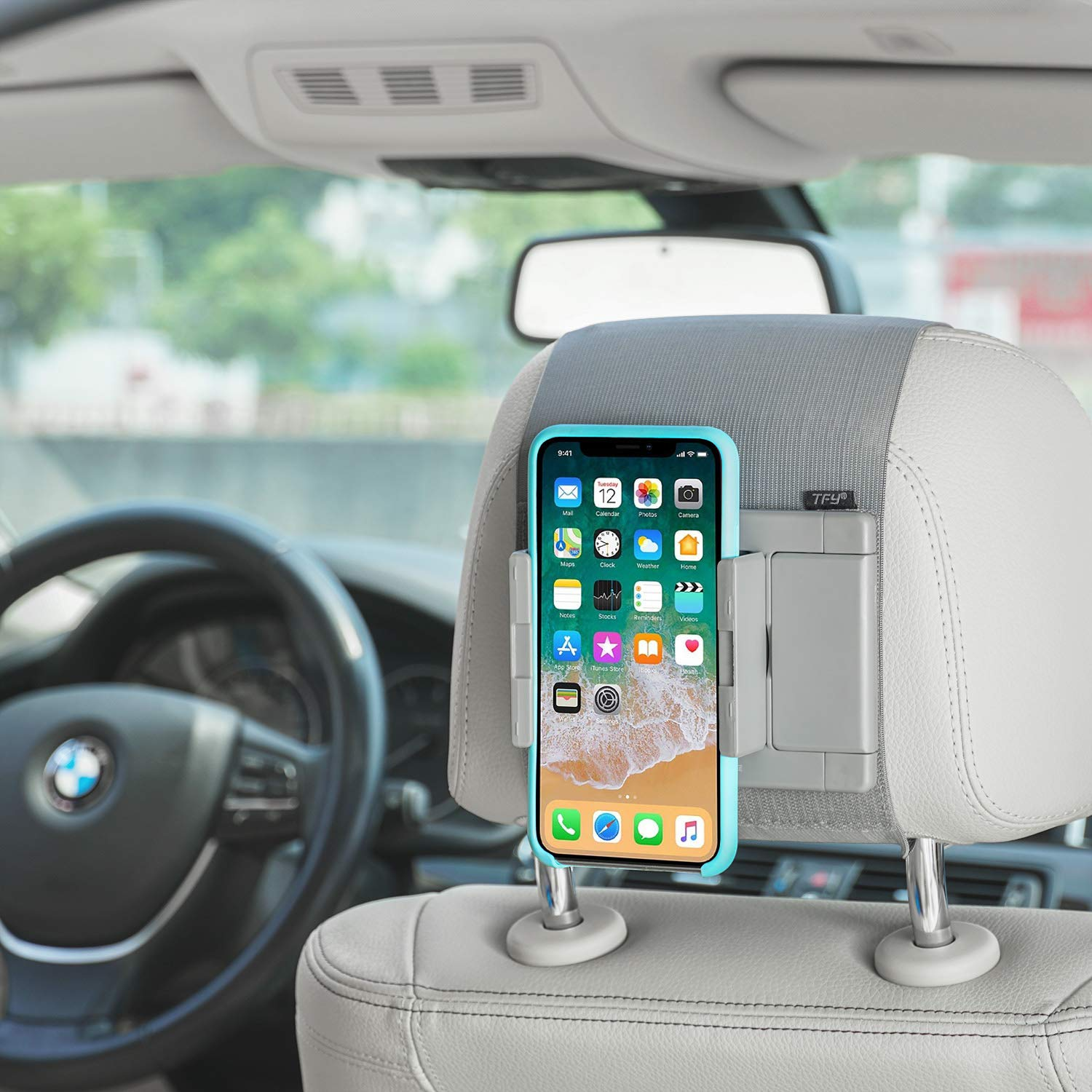 Compatible with 5 to 10.5 Inch Screens Devices Gray TFY Car Headrest Mount Holder for Phones and Tablets Car Mount Holder