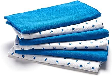 Lovjoy - Juego de 6 cuadros de muselina (70 x 70 cm), color azul: Amazon.es: Bebé
