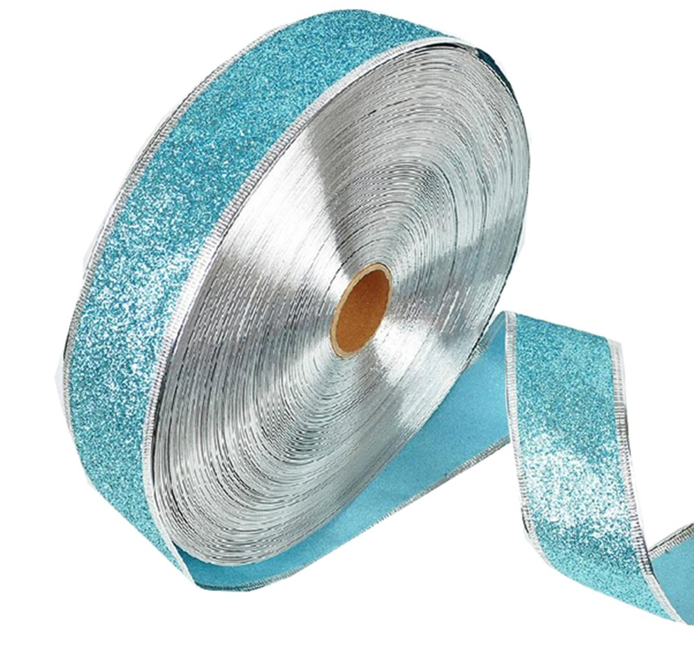 'weimay Satin Fabric Christmas Gift Glitter Tape Packaging Tapes DIY Crafts Decorations Wedding 2.2metres per 2(Blue) 200*5CM blue