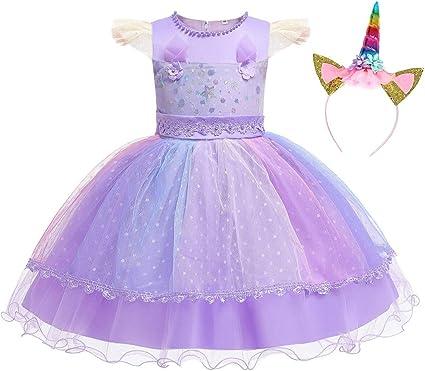 HenzWorld Girls Clothes Dress Unicorn Costume Headband Accessories Princess Birthday Party