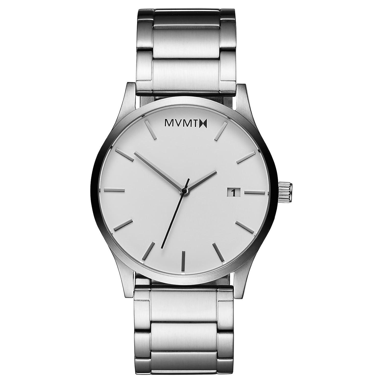 MVMT Herren Watch Uhr White-Silver gebÜrstetes Edelstahl Armband MC01WS