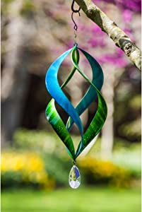 Evergreen Garden Beautiful Blue and Green Kinetic Hanging Wind Spinner - 8 x 19 x 8 Inches Fade and Weather Resistant Outdoor Decoration for Homes, Yards and Gardens