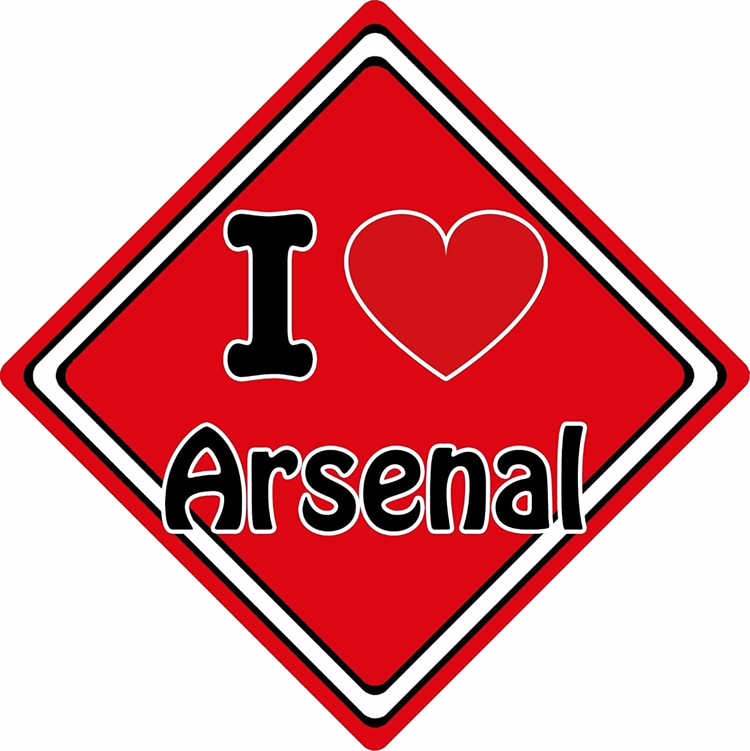 I Love Arsenal Car Sign ~ Support Your Town/City ~ Football/Rugby/Cricket CarSignsDirect.com