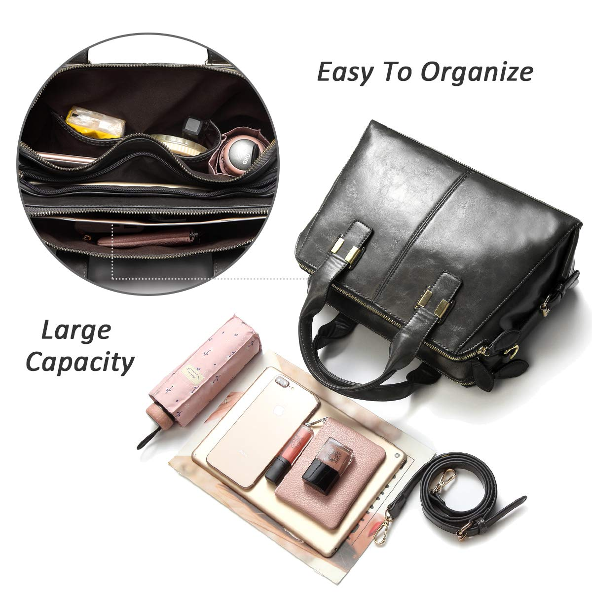 Faux Patent Leather Top Handle Handbag Work Tote Purse with Triple Compartments VASCHY Satchel Bags for Women