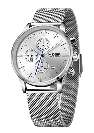 MEGIR 3 Ojales Analogico Cronógrafo Malla Banda Relojes Moda Luminoso automático fecha Cuarzo relojes: Amazon.es: Relojes