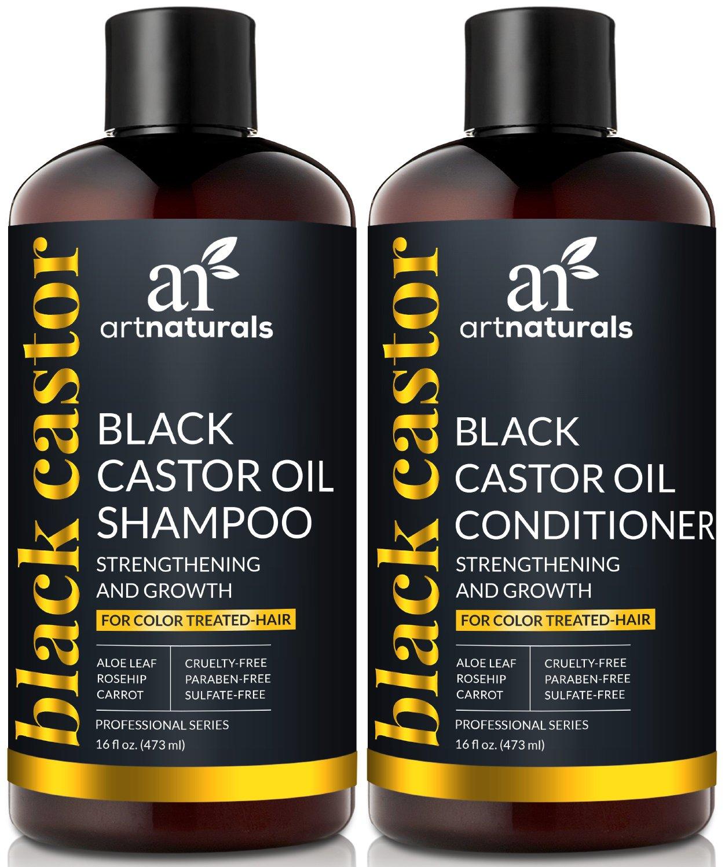ArtNaturals Black Castor-Oil Shampoo and Conditioner – (2 x 16 Fl Oz/473ml) – Strengthen, Grow and Restore – Jamaican Castor – For Color Treated Hair