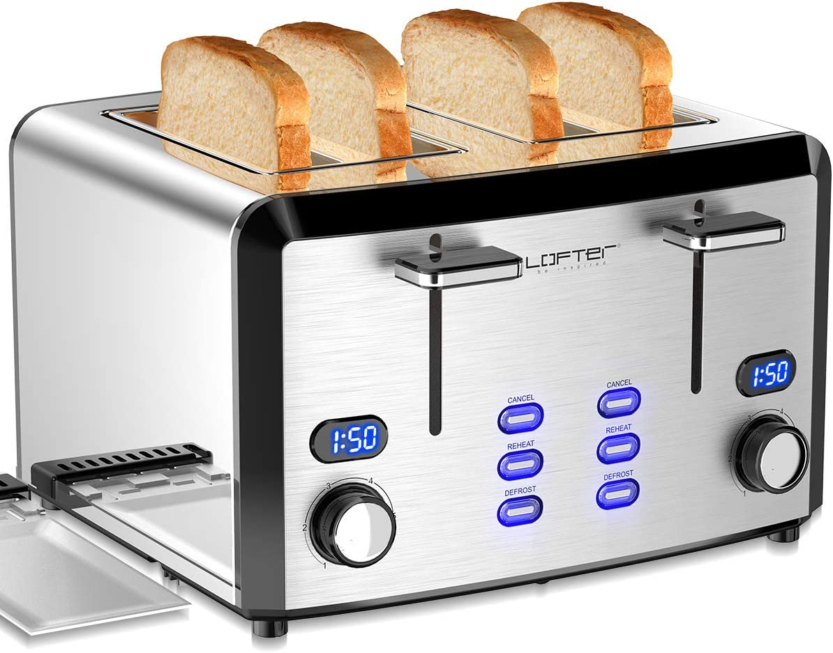4 Slice Toaster, LOFTer Prime Rated Bread Toasters with Compact LED Display, Mirror Stainless Steel Toasters with 6 Shade Settings, Extra Wide Slots, Defrost/Reheat/Cancel Function, Removable Crumb Tray, High Lift Lever, 1400W