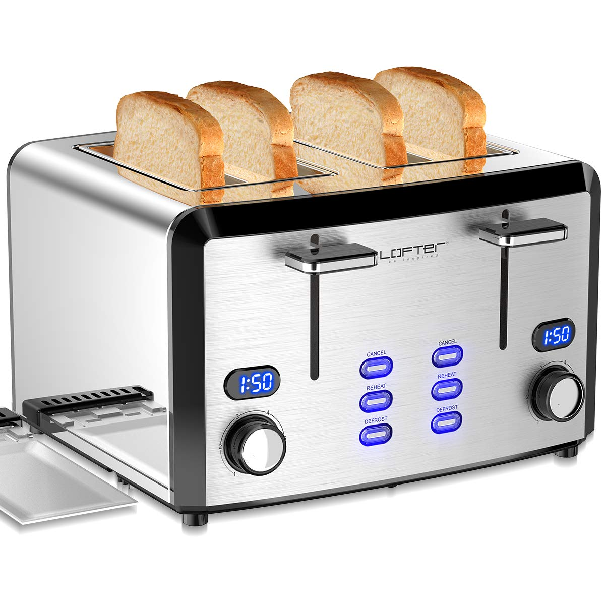 4 Slice Toaster, LOFTER Mirror Stainless Steel Toaster Best Rated Prime, Compact LED Display Toasters with 6 Shade Settings, Extra Wide Slots, Defrost/Reheat/Cancel Function, Removable Crumb Tray, High Lift Lever, 1400W by LOFTer