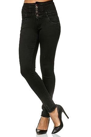 a7ff5ce5a6e076 JillyMode hochwertige Damen Super High Waist Stretch Skinny Gr.XS/34 bis Gr.