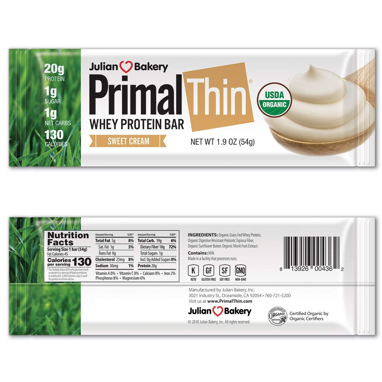Primal Thin® 20g Protein Bar (Sweet Cream)(Organic Grass Fed Whey) (130 Cal) (1g Sugar) (1 Net Carb) (Gluten-Free) (10 Bars) by Julian Bakery